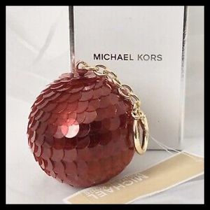 Michael Kors Disco Pom Pom Key Fob Cherry Red